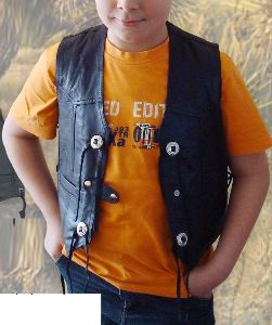Smooth Leather Kids Vest black KW 42201