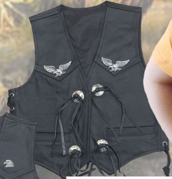 Smooth Leather Kids Vest With Eagle KW 42200