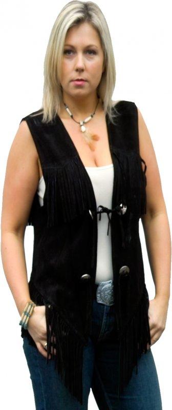 Fringe Vest W black 26812